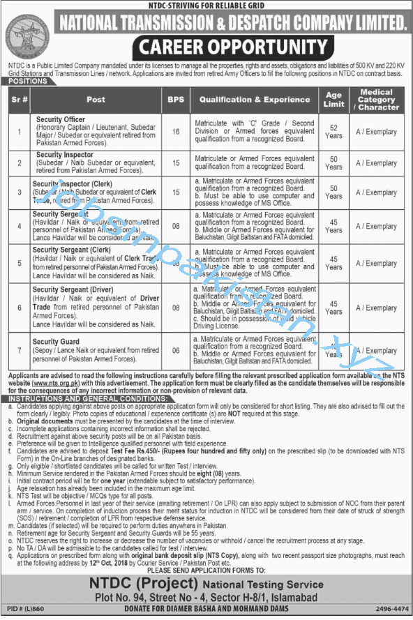 National Transmission and Despatch Company Jobs 2018 Advertisement