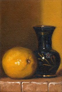 Oil painting of a lemon beside a small glass vase with flower decoration.