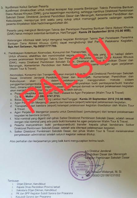 Hati-hati Surat Palsu yang Mengatasnamakan Ditjen Pendidikan Dasar dan Menengah Kemendikbud