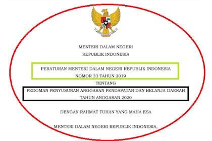 Permendagri Nomor 33 Tahun 2019 | Pedoman Penyusunan APBD 2020