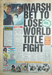 Back cover of a vintage Sunday Sport newspaper