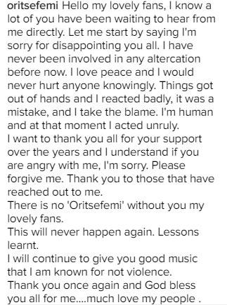 Oritsefemi apologizes to fans, Shina Pellar after Quilox Club saga