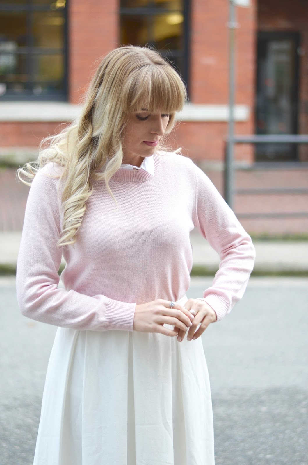faux collar pastel sweater