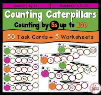 Skip Counting by 5s. This pack includes 50 task cards and 6 worksheets