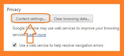 Chrome Content Setting