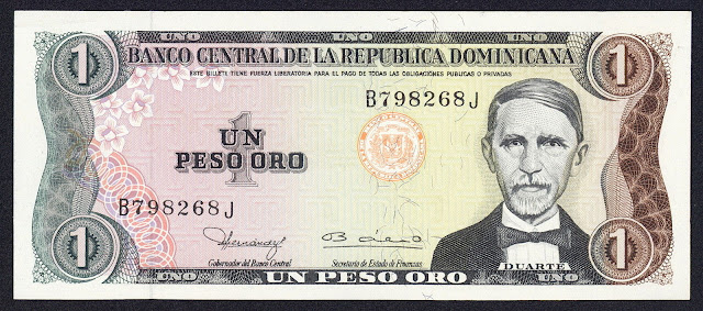 Dominican Republic currency 1 Peso Oro banknote 1980 Juan Pablo Duarte