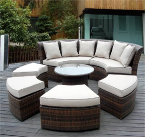 Genuine Ohana Outdoor Patio Wicker Furniture 7pc All Weather Round Couch Set with Free Patio Cover, Outdoor Furniture, Curved Patio Furniture, Modern Curved Sectionals, Curved Sectional, Curved Patio Furniture,