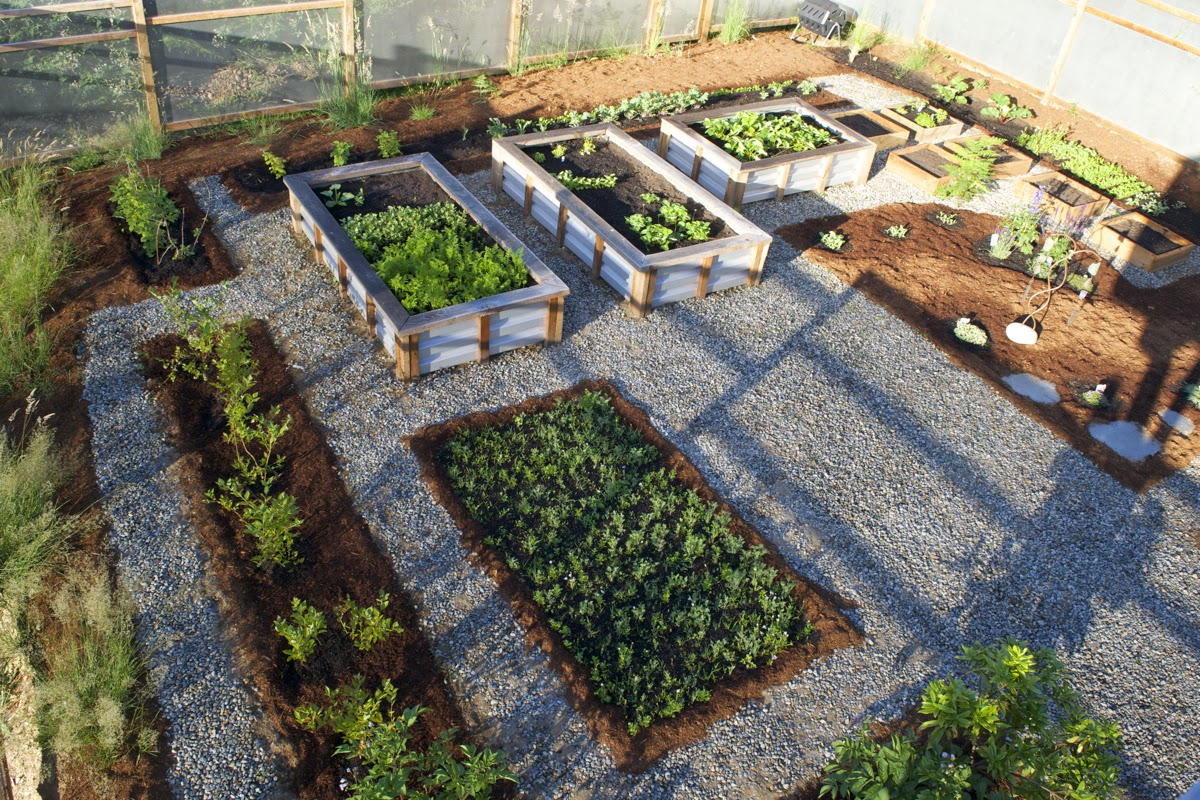 View of perforated sheet metal fence and raised garden beds, designed by Coast Chimes' Tim Kline