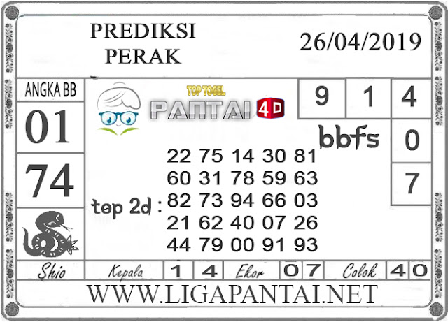 """Prediksi Togel """"PERAK"""" PANTAI4D 26 APRIL 2019"""