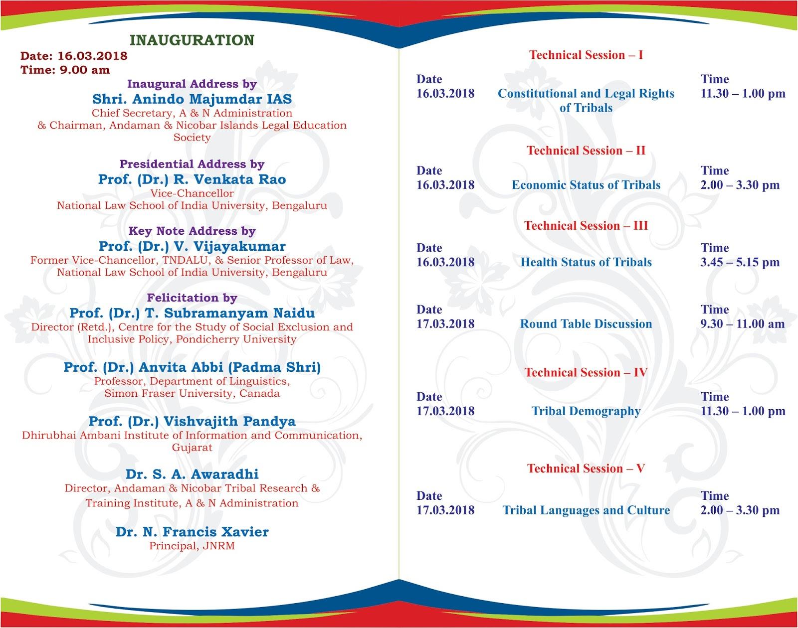 Andaman Law College INVITATION FOR NATIONAL SEMINAR AT ANDAMAN LAW
