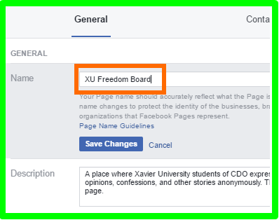 How To Change Name In Facebook Page