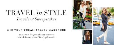 Enter the Chico's Travel in Style Travelers' Sweepstakes. Ends 10/12