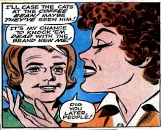 Amazing Spider-Man #64, john romita, anna watson watches as mary jane watson flaunts her terrible new hairstyle and smiles, in profile