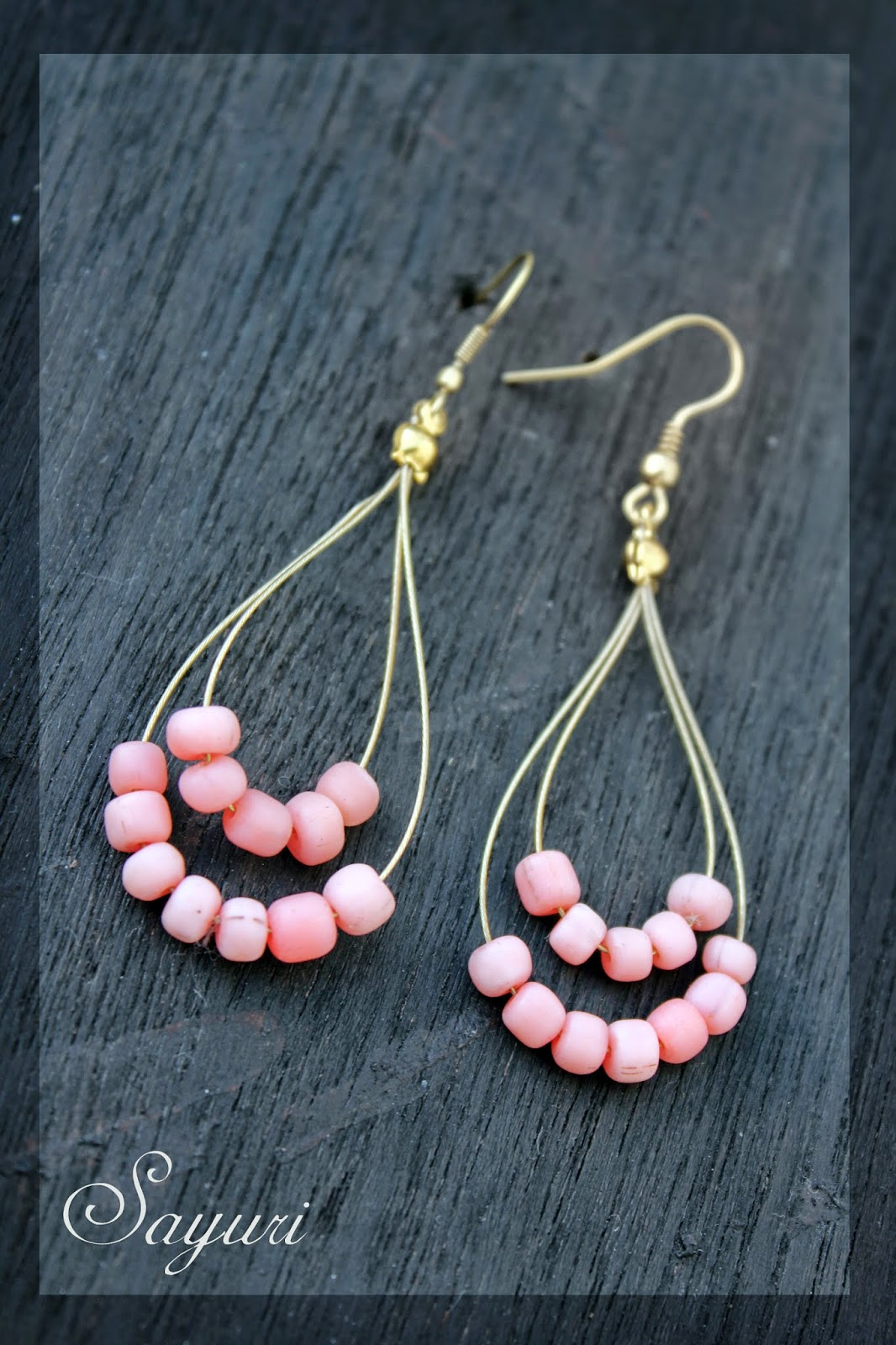 beaded earrings #pink