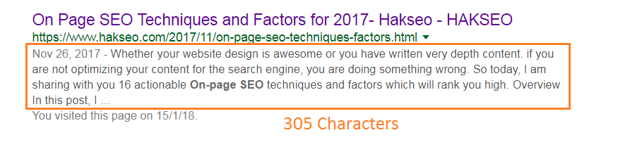 meta description length in 2018