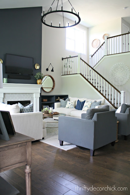 Family room transformation with paint and bookcases