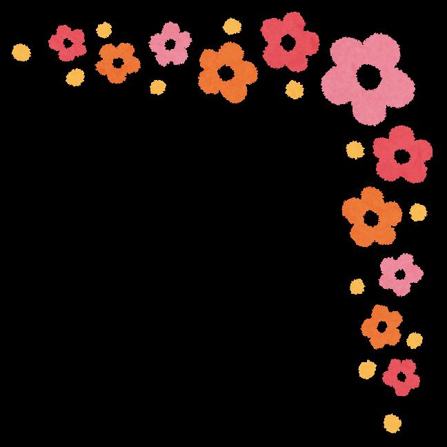 かわいいコーナー素材花葉刺繍リボン桜水玉小花音符星