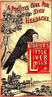 crow perched on tree limb holding sign advertising Carter's Little Liver Pills