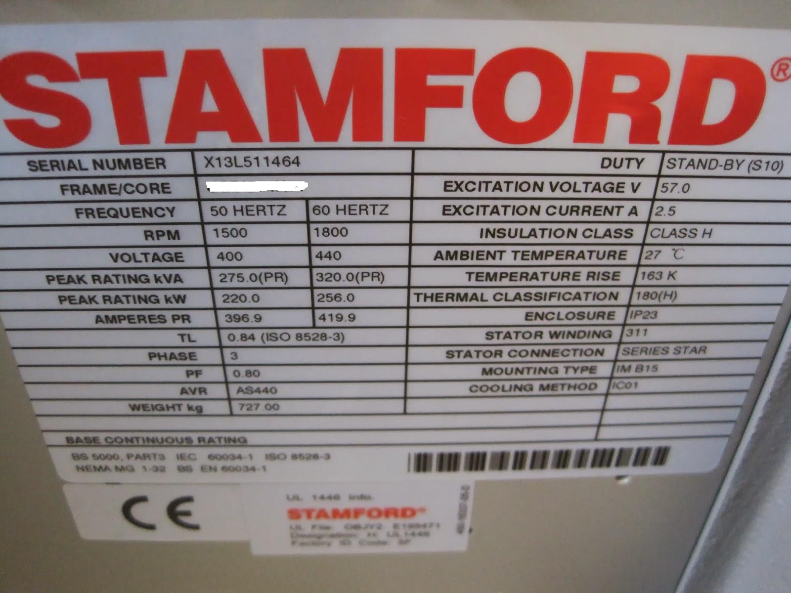 Stamford Generator manual on