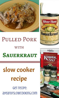 Moist and flavorful, this pulled pork with saurkraut is one of the best things you can make in the crockpot slow cooker!