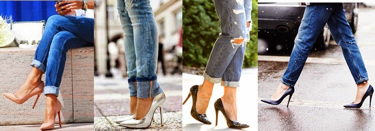pointy heels and boyfriend jeans