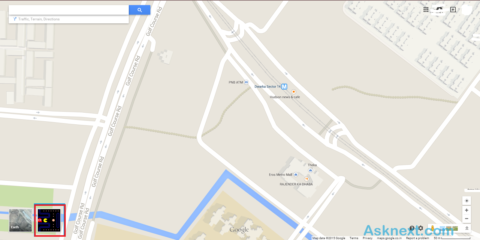 PAC-MAN game in Google Maps