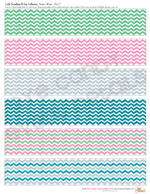 chevron napkin wraps, birthday party, wintertime, winter birthday