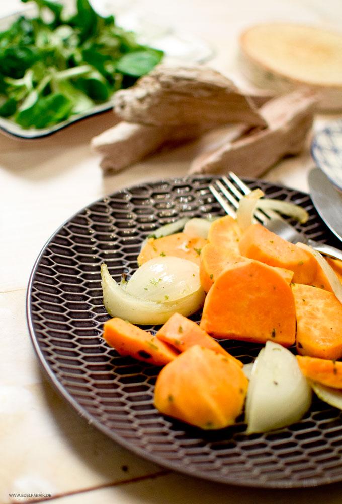Süßkartoffeln einfach und schnell zubereiten, Süßkartoffeln aus dem Ofen