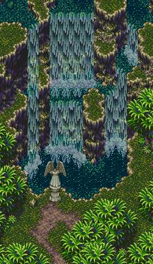 Seiken Densetsu 3 - Banner vertical cascada estatua