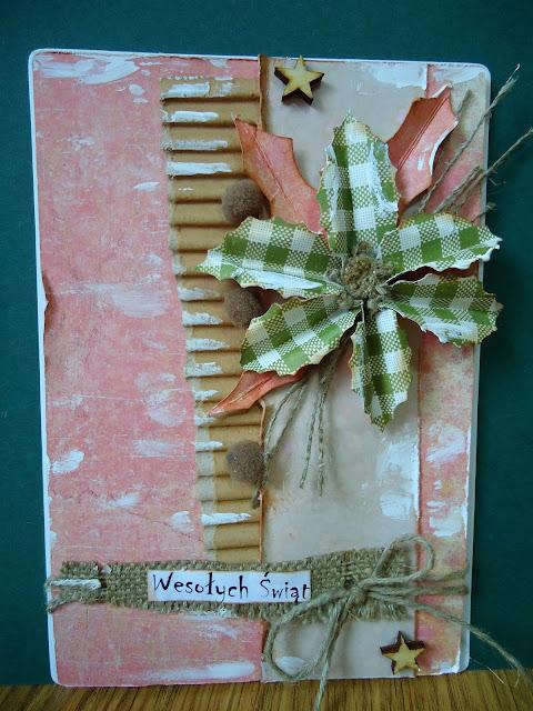 kartka z gwiazdą na święta,ręcznie robione kartki świąteczne