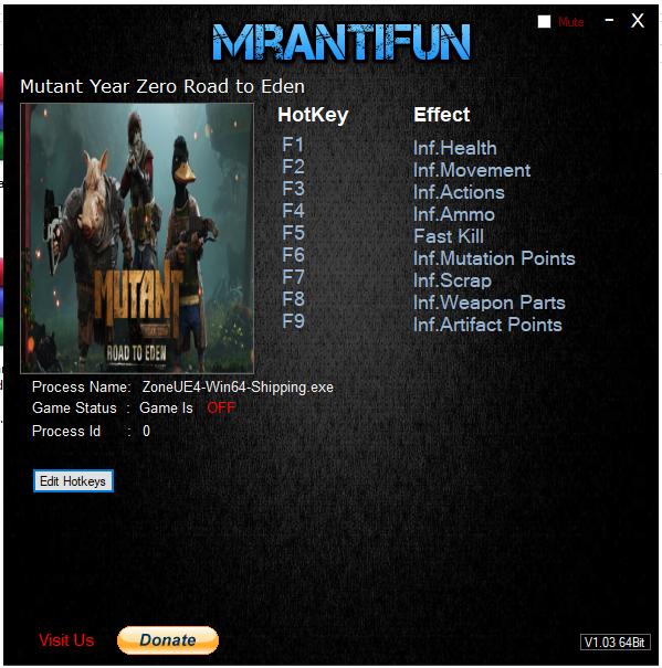 Trainer Cheat Mutant Year Zero: Road to Eden