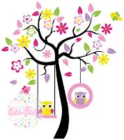 vinilo decorativo pared infantil bebe buhos ramas