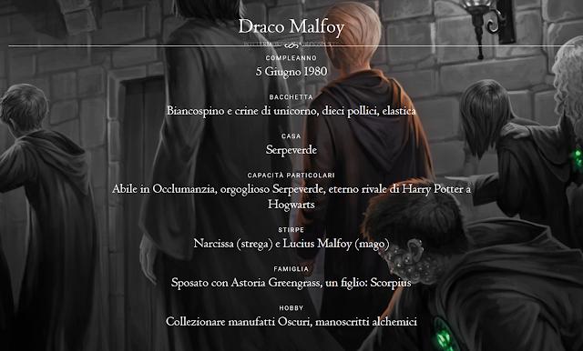 Scheda di Draco Malfoy