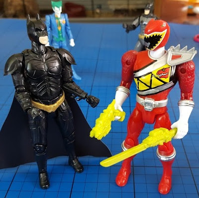 Bandai Power Rangers vs Batman Sprukits comparison