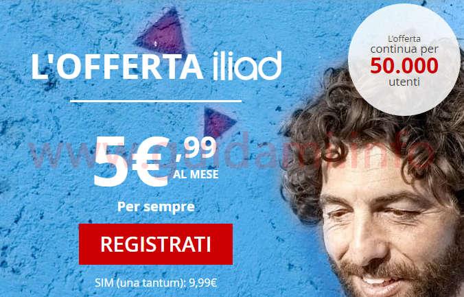 Offerta iliad da 5,99 euro al mese