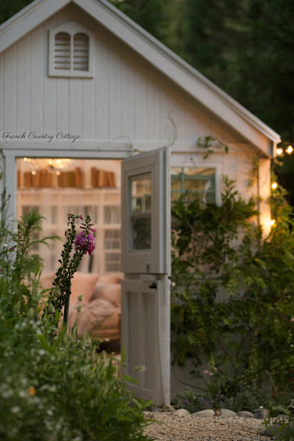 outside of shed at night