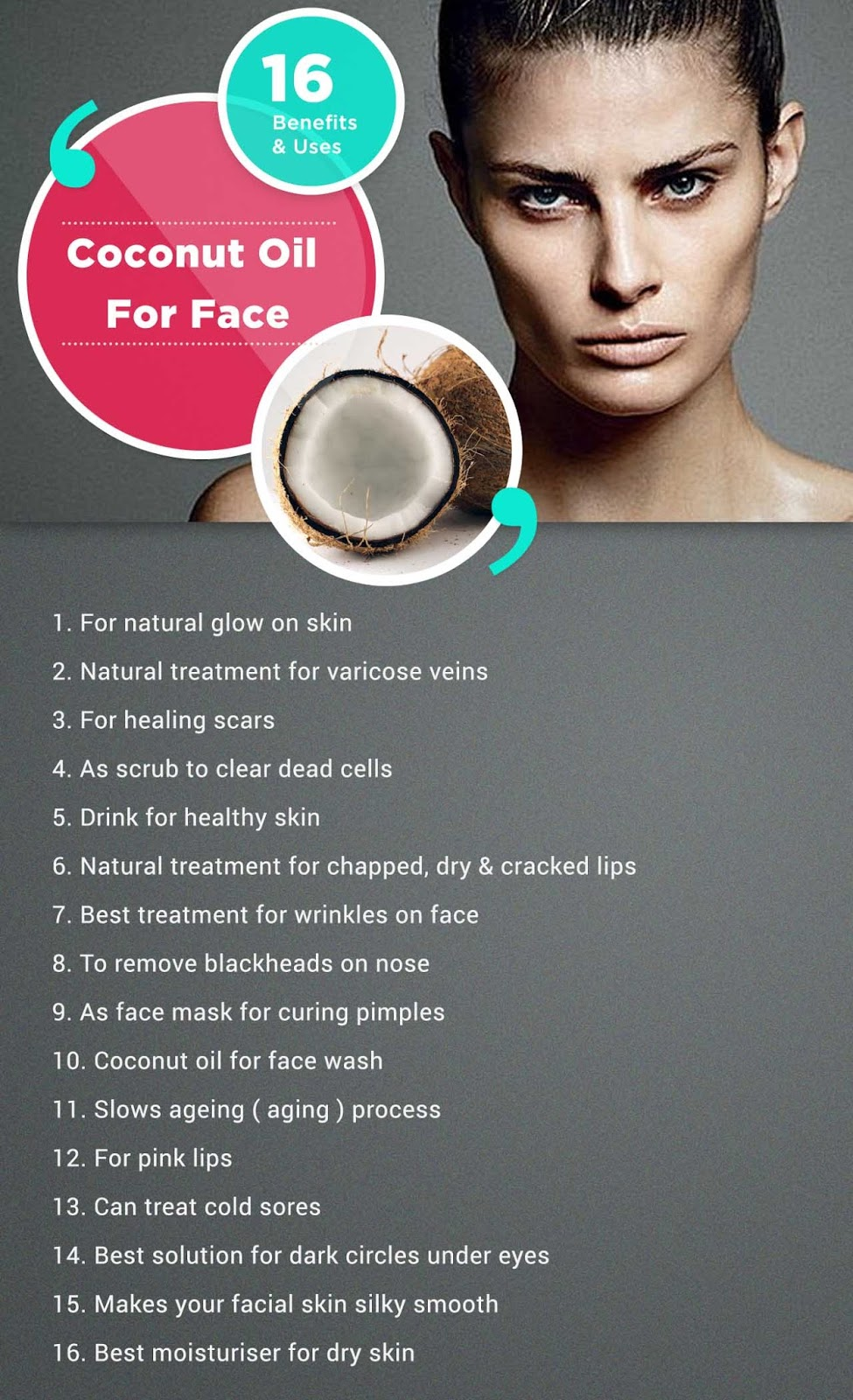 Coconut oil for face Infographic - Uses and Benefits picture - Tipsmonk .jpg