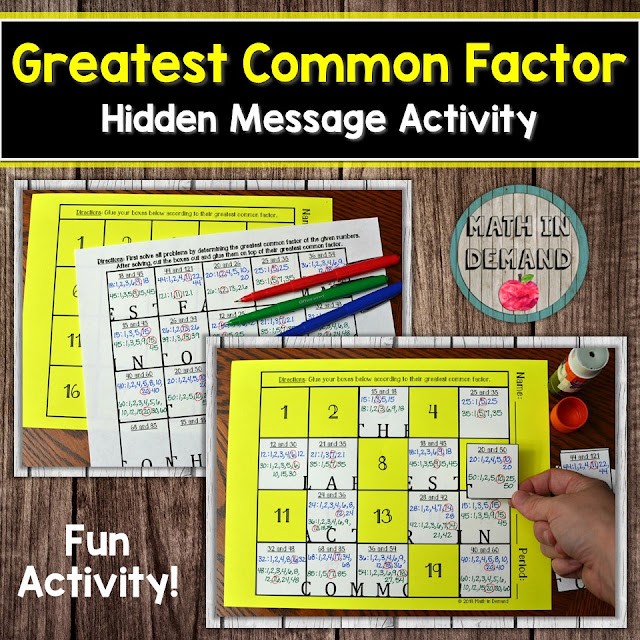 Greatest Common Factor (GCF) Hidden Message Activity