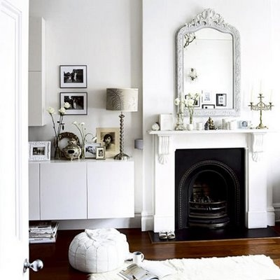 White marble fireplace and arch insert