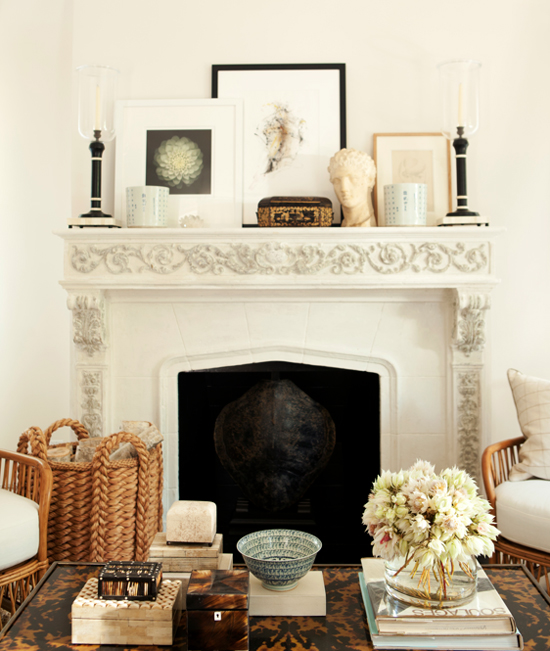 Chic country style and a woven basket full of logs, captured by Amy Neunsinger