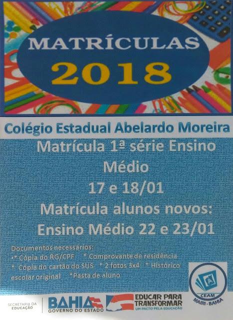 Matrículas 2018 do Colégio Estadual Abelardo Moreira, em Mairi
