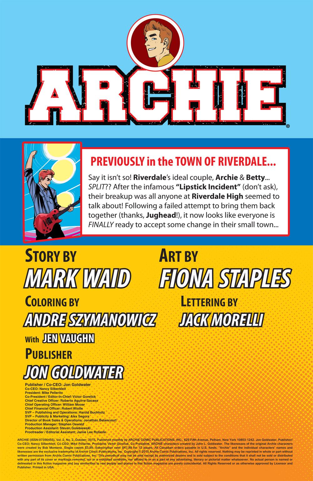 PREVIEW: 'Archie' #2 by Mark Waid, Fiona Staples, Andre Szymanowicz