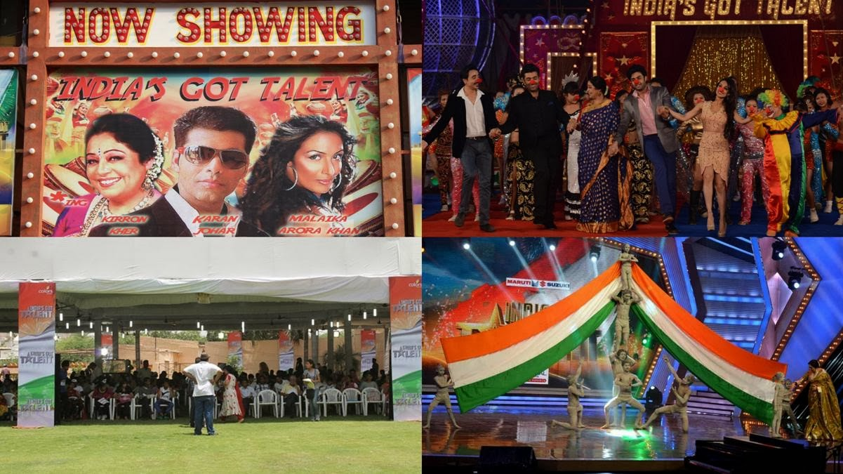 India's Got Talent stills: Judges Karan Johar, Malaika Arora Khan, and Kirran Kher; audition venue; performance