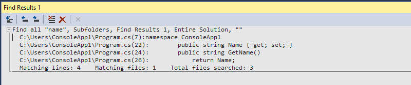 When you search for a term in the Find and Replace dialog window, it displays the result with matched file name along with the matched code line