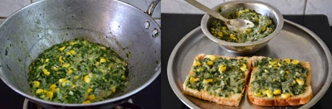 how to make spinach corn sandwich