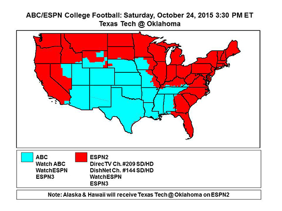 Map Of Texas Tech.Ou Vs Texas Tech Coverage Map Soonersblog Com