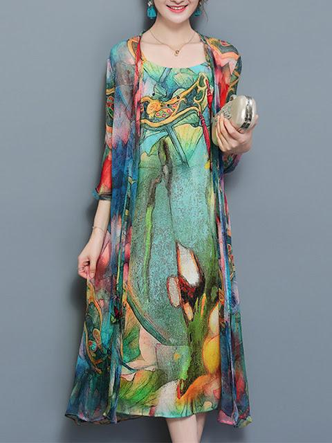 Vintage Women Two Pieces Set Straps Print Dresses