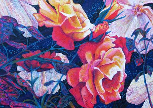 A contemporary painting of a rose.