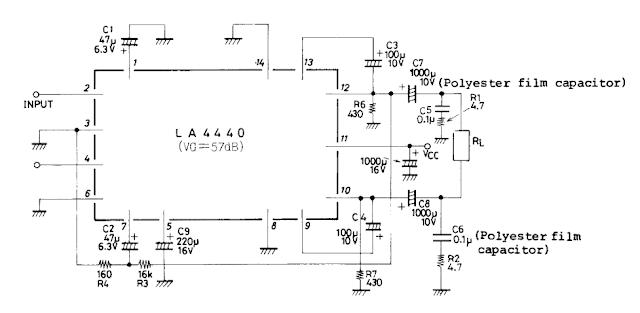 la4440 audio amplifier 2x6w 1x19w. Black Bedroom Furniture Sets. Home Design Ideas
