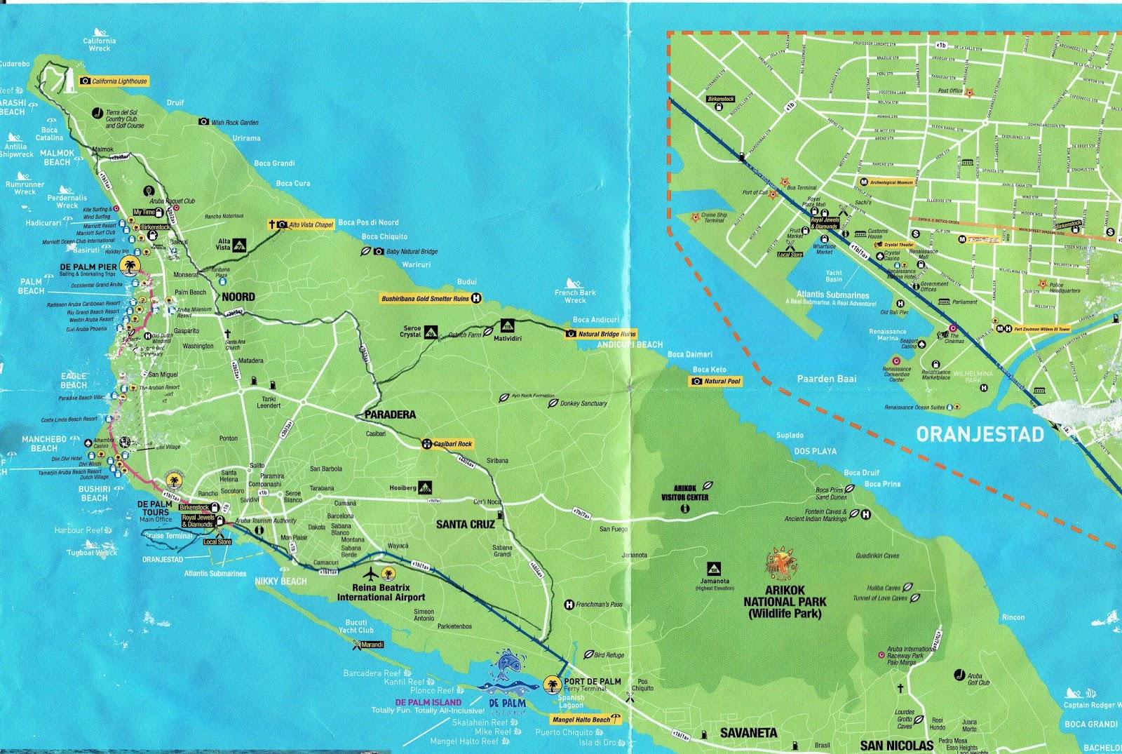 Aruba Tourist Map Related Keywords & Suggestions - Aruba Tourist Map on